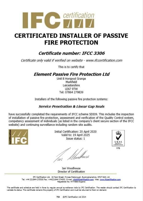 IFC Certificate Element Passive Fire Protection
